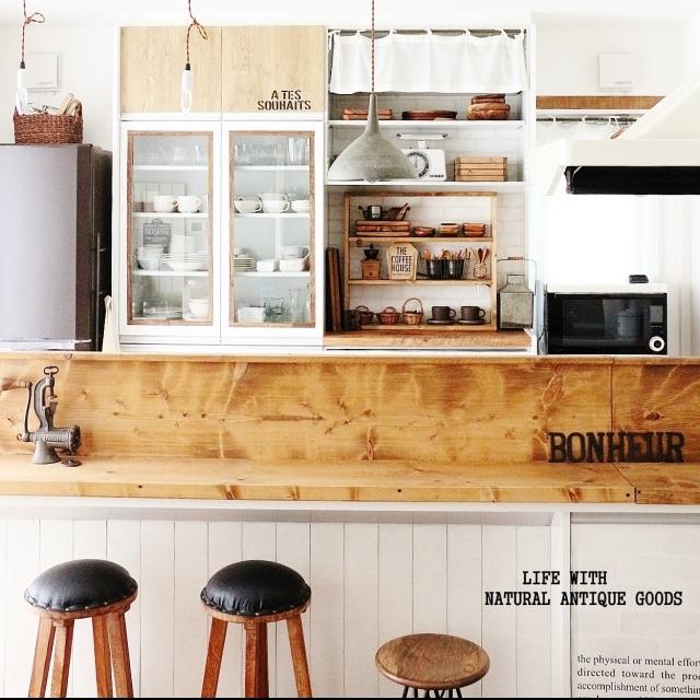 カウンターが素敵なキッチン。カフェ風の雰囲気